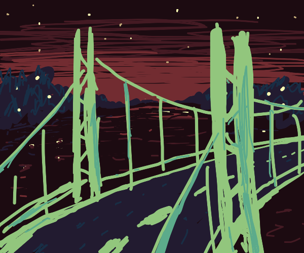 trees fill the bg, lights, and an overpass.