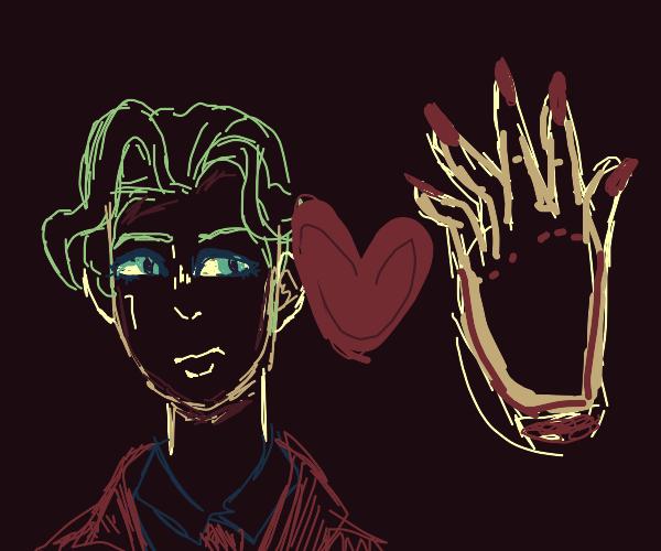 Green haired girl loves hand