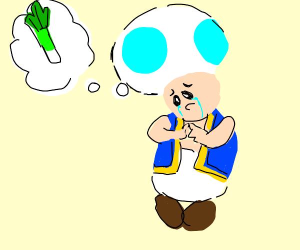 Sad toad dreams for a leek