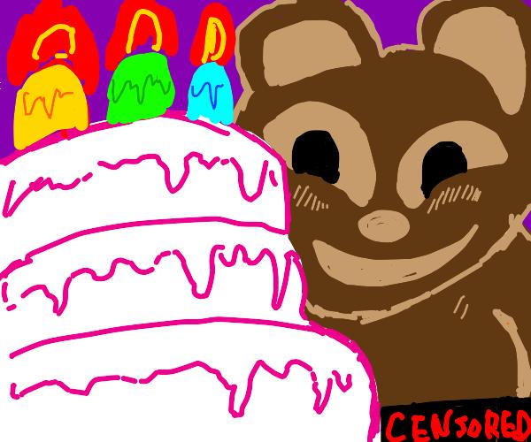 Censored Bar near birthday cake