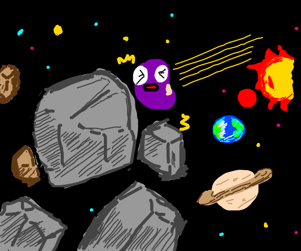 purple bean crushes into asteroid