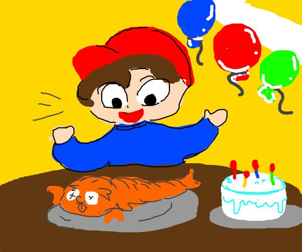 birthday boy mr.shrimpy is served for lunch