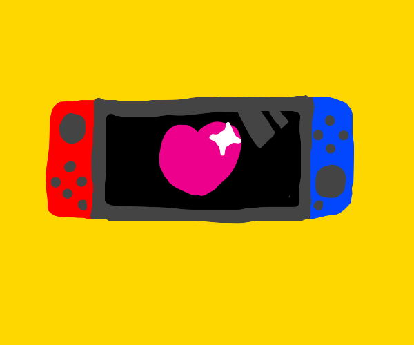 a nintendo switch with heart on screen