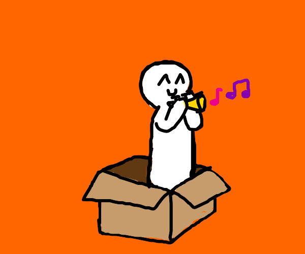 boy in box plays the trumpet