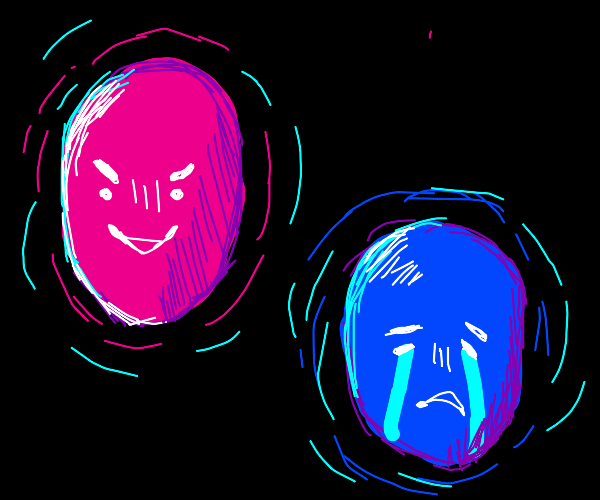 two floating heads, one happy one sad