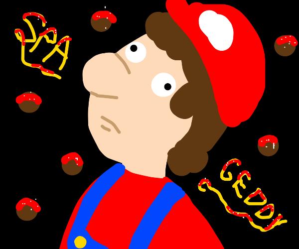 moustache-less mario says spaghetti