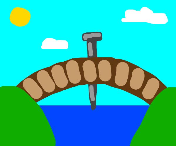 a nail in a bridge