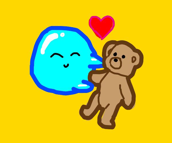 blue bubble loves teddy bear