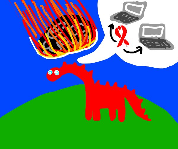 red dinosaur says laptops have cancer :/