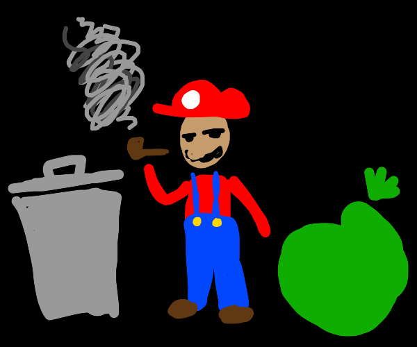 Mario smoking pipe surrounded by trash