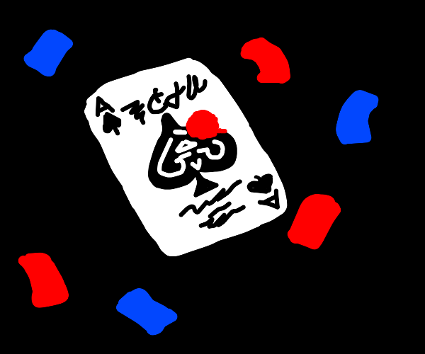 Ace of Spades card with bits of confetti