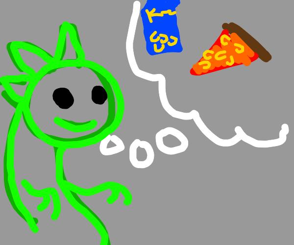Green Dino thinks of mac n cheese pizza.