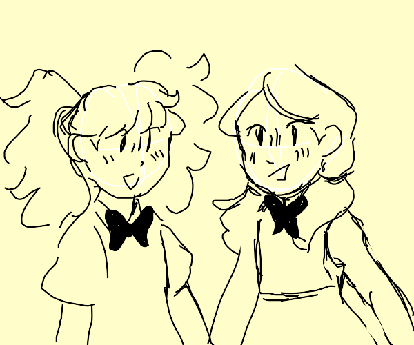 two ppl with pigtails in dresses with bowties
