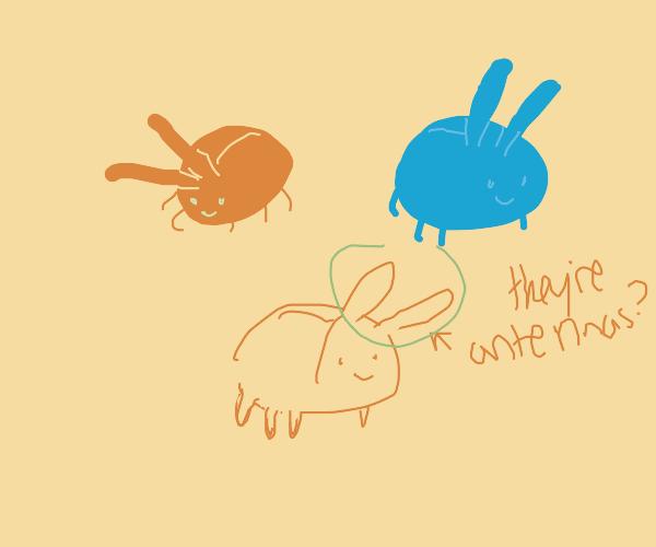 Red bug, yellow bug, blue bug