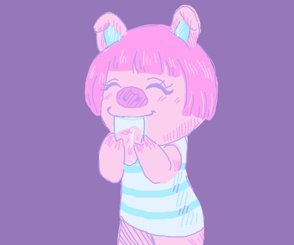 Cute Animal Crossing Pig Drinks Milkshake