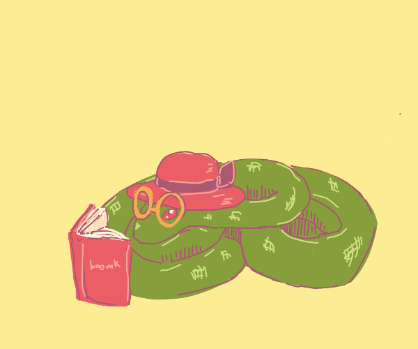 snek in sunhat, reading book