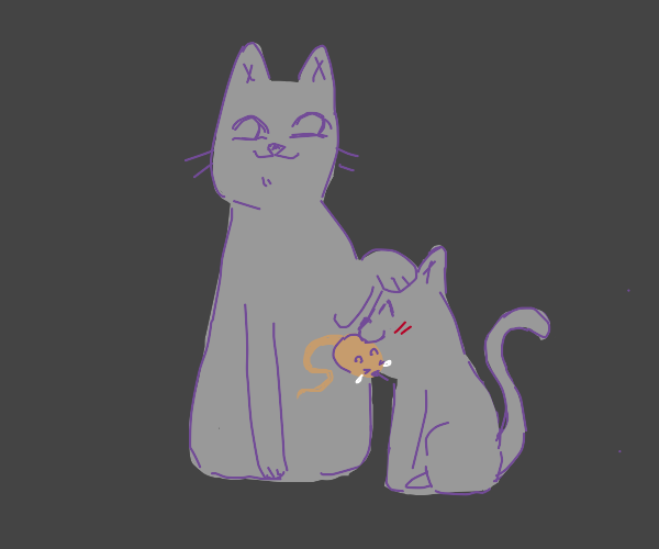 Cat congratulates son for capturing mouse