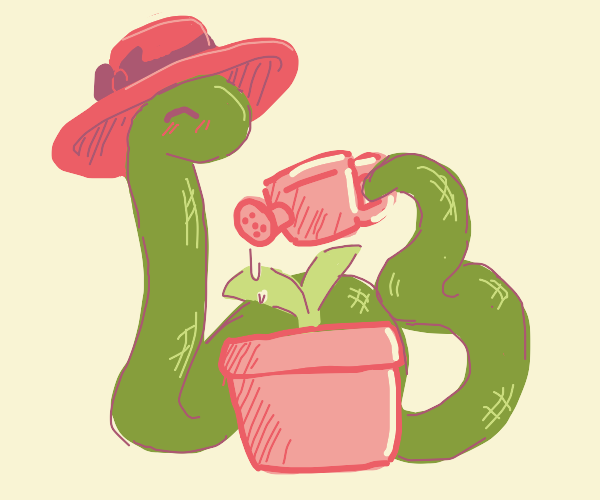 Snake with hat watering a plant