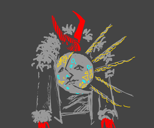 Devil girl w/ sun& moon shirt and fur coat