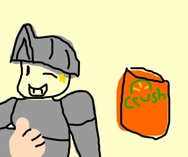 Knight winking at crush