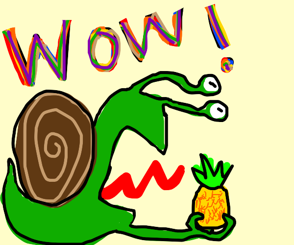 Snail discovers a pineapple