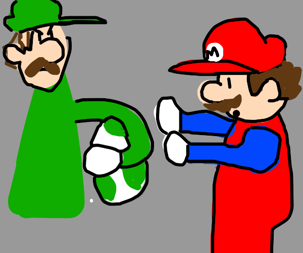 Angry Luigi takes Baby Yoshi from Mario