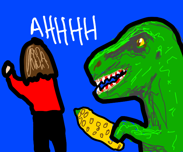 Dinosaurs attack human with corn
