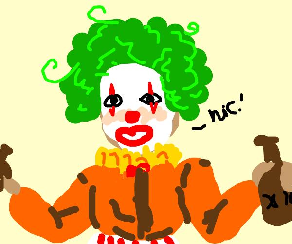 Clown (women) gets drunk