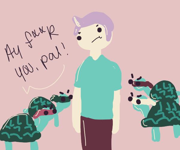 turtles with ninja turtle masks annoy man