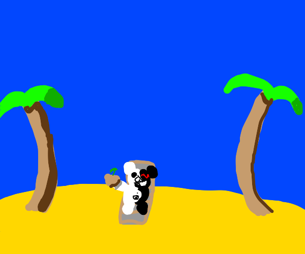 Monokuma (Danganropa) At The Beach