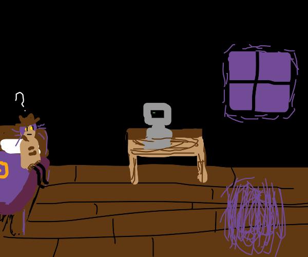 detective ponders his dark rooms computer