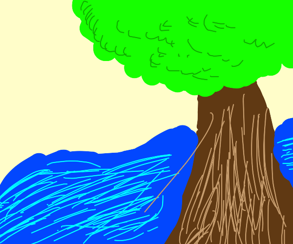 A tree in the forground and a river flooding