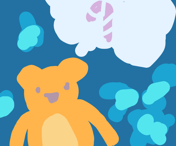Bear thinking of a candy cane