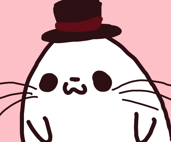 Seal with top hat sitting at coffeeshop