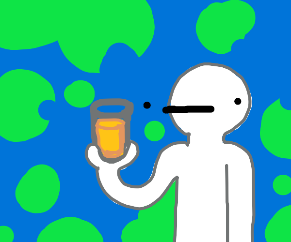 person holding urine
