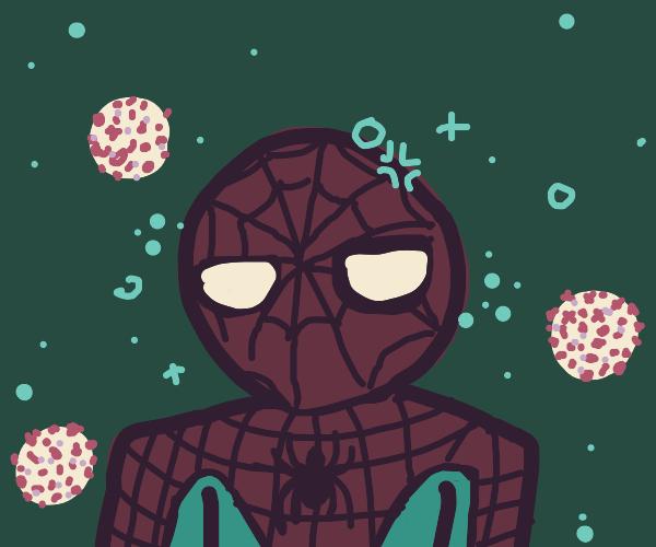 Spiderman chillin', needs haircut, COVID