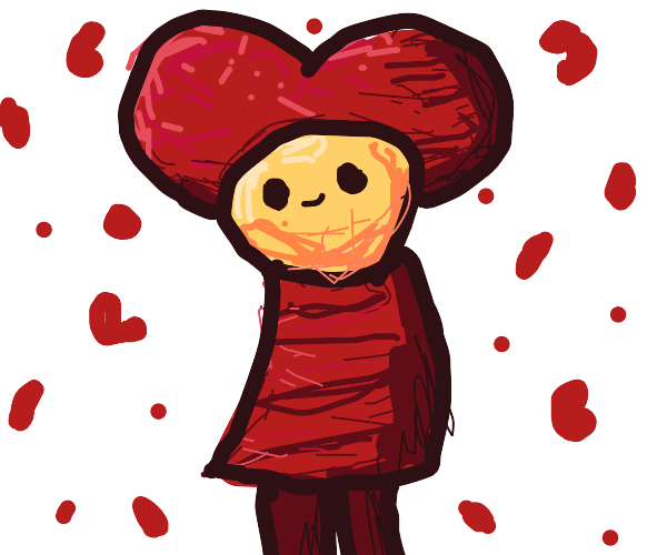 man in a heart outfit