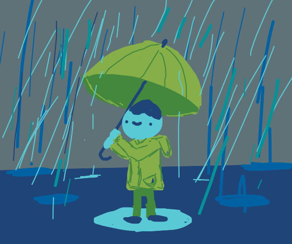 A person walking in the rain with an umbrella