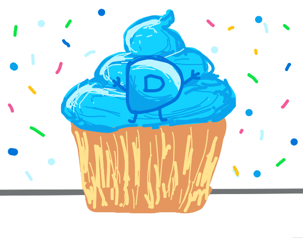 Drawception D on top of a cupcake