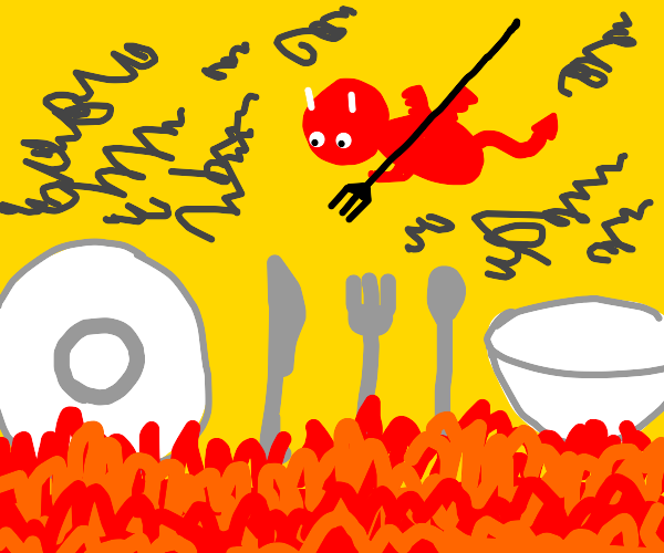 Food cultlery burns in Hell
