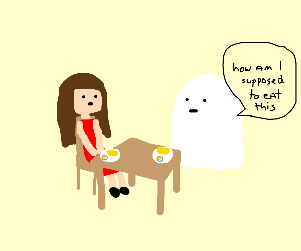 Ghost and human eat breakfast egg & omelet