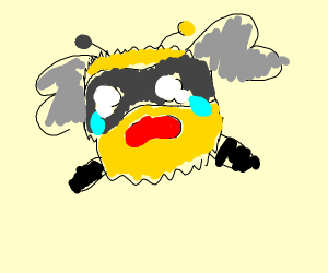 Bee with horrified face