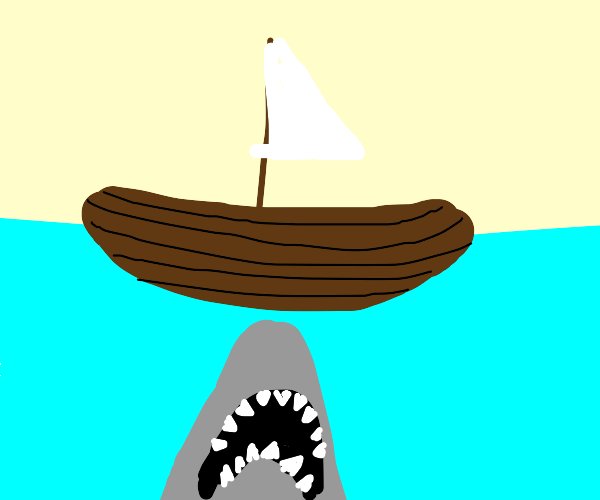 Shark attacking boat