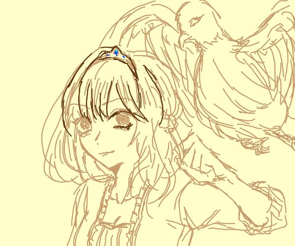 princess with a bird