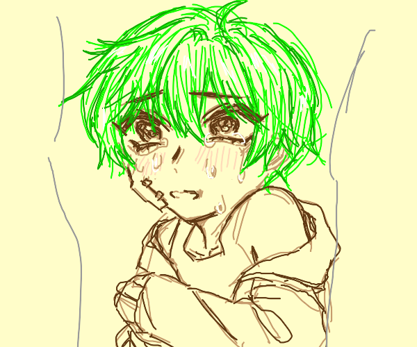 Green haired boy is bullied