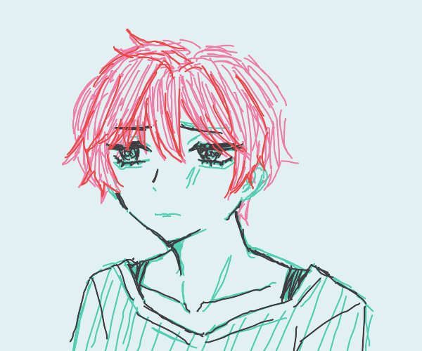 a sad brooding person with red hair