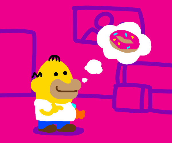 homer simpson thinking about a donut