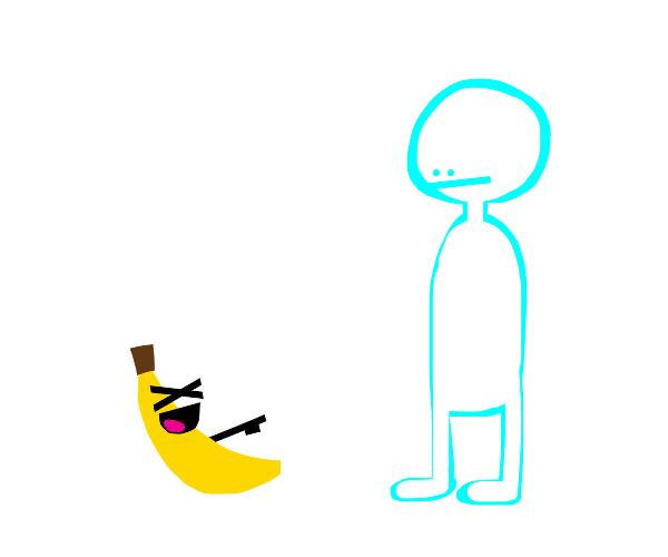 Banana laughs at boy