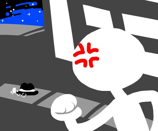 Tiny man steals hat