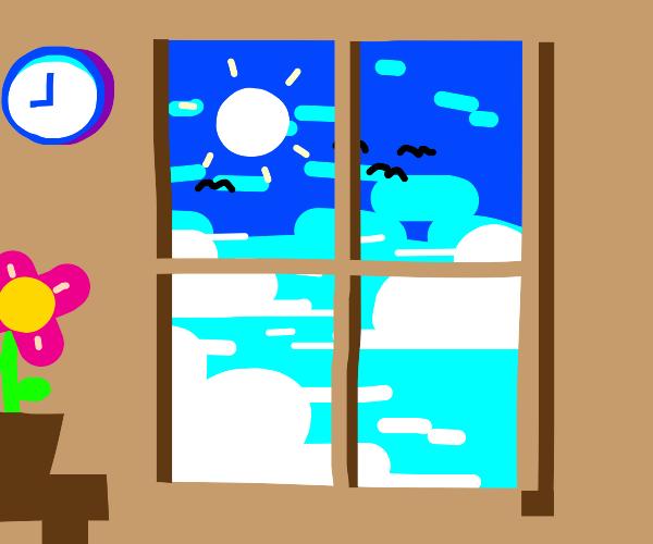 Clear sky view thru window